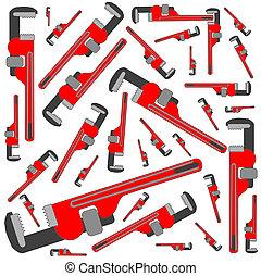 tubo, patrón, llave inglesa