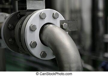 tubo, planta, industrial, fábrica, conexión