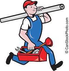 tubo, plomero, caja de herramientas, caricatura