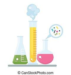 tubo, química, experimento
