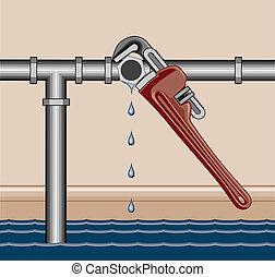 tubo, reparación, el escaparse