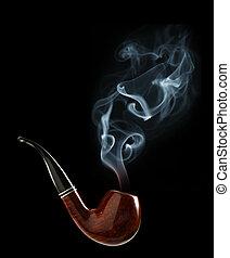 tubo, tabaco, humo
