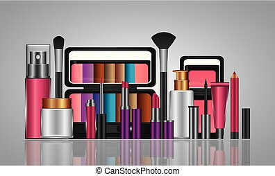 tubo, trucco, cosmetico, spruzzo, prodotti, crema