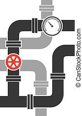 tubo, valvola, vettore, illustrazione