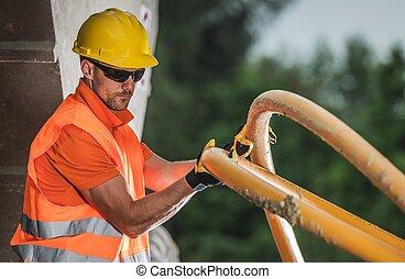 tubo, voltaje, alto, instalar