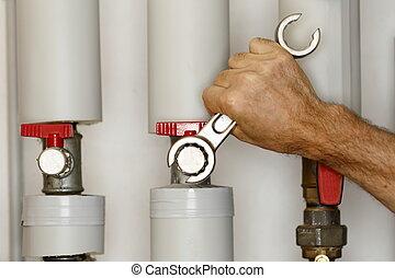 tubos, calefacción, trabajando, hombre