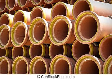 tubos, cerámico, alcantarilla