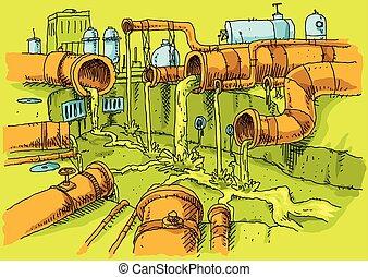 tubos, contaminación