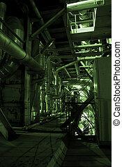 tubos, dentro, energía, planta
