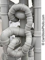 tubos, desagüe, caos