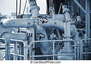 tubos, en, el, cubierta, de, naval, ship.