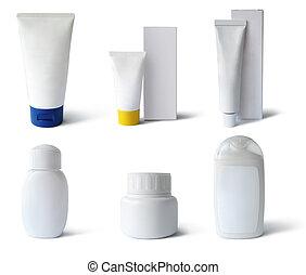 tubos, médico, pacotes, cosméticos, recipientes