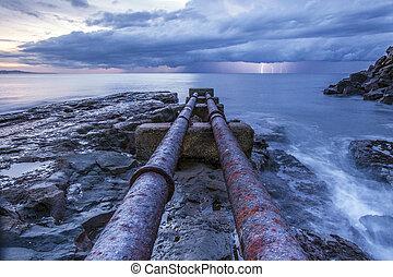 tubos, océano
