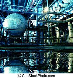 tubos, planta, poder, canos, maquinaria, turbina, vapor