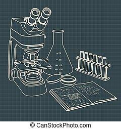 tubos, prueba, microscopio, laboratorio