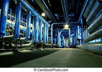 tubos, tubos, maquinaria, y, vapor, turbina, en, un, central...