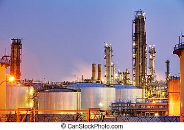 tubos, y, tanques, de, refinería de petróleo, -, fábrica