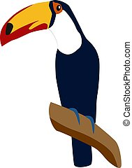 Tucan bird, illustration, vector on white background.