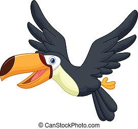tucano, carino, uccello, cartone animato, volare