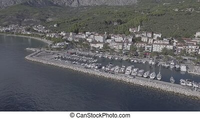 Tucepi aerial view - Aerial view of the small town port...