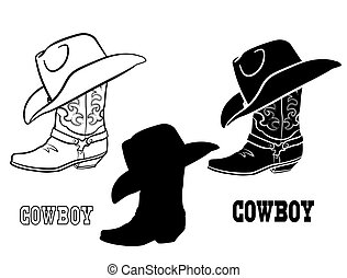 tuch, abbildung, vektor, stiefeln, amerikanische , westlich, weißes, grafik, satz, freigestellt, hat., cowboy
