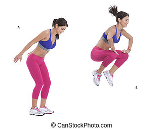 Step by step instructions: Stand with the feet shoulder width apart and keep the back straight. (A) Jump up in a powerful movement bringing the knees up to the chest. (B)