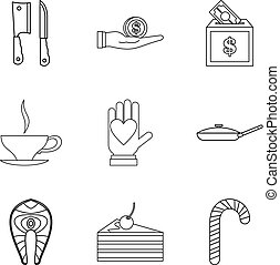 Tucker icons set, outline style