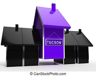 Tucson Homes Icon Depicts Real Estate Investment In Arizona - 3d Illustration