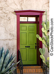 Southwestern style adobe door in historical part of Tuscon, Arizona