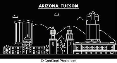 Tucson silhouette skyline. USA - Tucson vector city, american linear architecture, buildings. Tucson travel illustration, outline landmarks. USA flat icons, american line banner