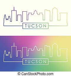 Tucson skyline. Colorful linear style.