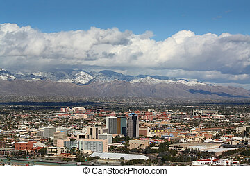 Tucson in winter with snow on the Santa Catalina Mts