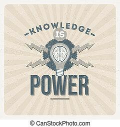 tudás, erő, árajánlatot tesz, -, vektor, tervezés, szüret, typographical
