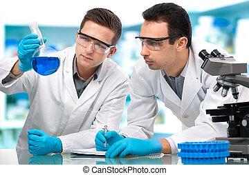 tudósok, dolgozó, alatt, egy, kutatólaboratórium