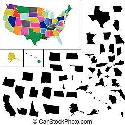 tudo, 50, ilustração, estados, fundo, branca, américa