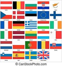 tudo, bandeiras, de, a, países, de, a, união européia