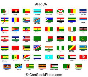 tudo, bandeiras, países, áfrica, lista