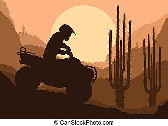 tudo, buggy, terreno, duna, motocicletas, quad, veículo, illust, cavaleiros