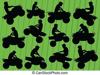 tudo, buggy, terreno, duna, motocicletas, veículo, quad, cavaleiros