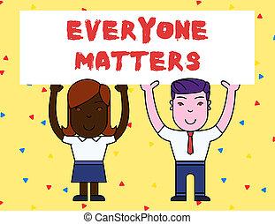 tudo, conceito, pessoas, texto, everyone, direita, ter, em branco, respeito, sorrindo, matters., dois, despesas gerais, tábua, segurando, cartaz, dignidade, adquira, grande, mostrando, significado, hands., ambos, letra