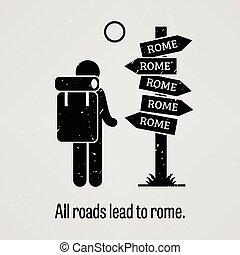 tudo, estradas, liderar, para, roma