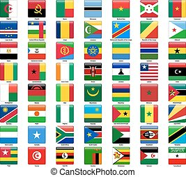 tudo, jogo, estilo, countries., quadrado, bandeiras, lustroso, africano