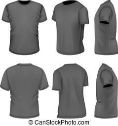 tudo, manga curta, vistas, homens, seis, t-shirt, pretas