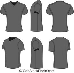 tudo, manga curta, vistas, homens, t-shirt, pretas, v-neck