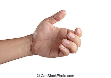 tudo, mostrando, dedos, mão, cinco, abertos
