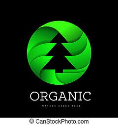 tudo, orgânica, natureza, árvore, árvores, sinal, forma, conectado, fundo, asseado, logotipo, branca, circle.