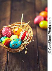 tudo, ovos, em, um, cesta