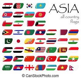 tudo, país, bandeiras, de, ásia