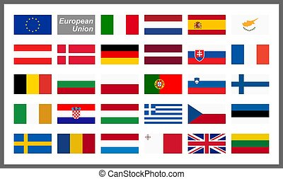 tudo, país, bandeiras, de, união européia