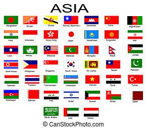 tudo, países, lista, bandeiras, asiático, countrieslist